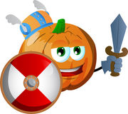 Viking pumpkin with sword Royalty Free Stock Photos
