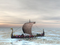 Viking Raider. Viking dragon boat on the sea Royalty Free Stock Photos