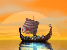 Viking Raider. Becalmed viking ship at sea Stock Photography