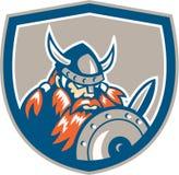 Viking Raider Barbarian Warrior Shield rétro Photos stock