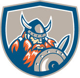 Viking Raider Barbarian Warrior Shield Retro Stock Photos