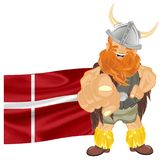 Viking and red flag. Smiling viking with large Denmark flag stand and show gesture Stock Image