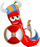 Viking red hot chili pepper with axe Royalty Free Stock Photography