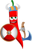 Viking red hot chili pepper with axe Royalty Free Stock Images