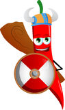 Viking red hot chili pepper with a club and shield Stock Images