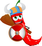 Viking red hot chili pepper with a club and shield Royalty Free Stock Image