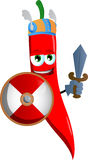 Viking red hot chili pepper with sword Royalty Free Stock Photos