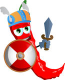 Viking red hot chili pepper with sword Stock Photography