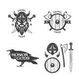 Viking related t-shirt graphics set. Vector vintage illustration. vector illustration