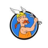 Viking Repairman Spanner Circle Cartoon Stock Photo