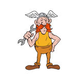 Viking Repairman Standing Spanner Cartoon Stock Photos