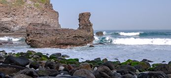 Viking rock view about the coast from Tenerife stock photo
