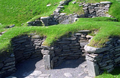Viking ruins, Jarslhof, Shetland, Scotland Stock Photography