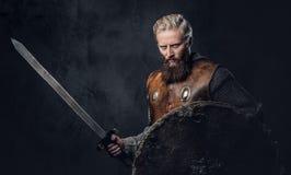 Viking rymmer den iklädda nordiska harnesken ett sköld- och silversvärd Royaltyfria Foton