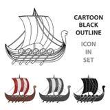 Viking`s ship icon in cartoon style isolated on white background. Vikings symbol stock vector illustration. Stock Photography