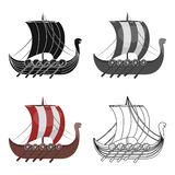 Viking`s ship icon in cartoon style isolated on white background. Vikings symbol stock vector illustration. Viking`s ship icon in cartoon design isolated on Stock Image