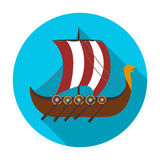 Viking s ship icon in flat style isolated on white background. Vikings symbol stock vector illustration. Stock Photos