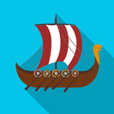 Viking`s ship icon in flate style isolated on white background. Vikings symbol stock vector illustration. Viking`s ship icon in flate design isolated on white Royalty Free Stock Photography