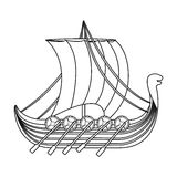 Viking s ship icon in outline style isolated on white background. Vikings symbol stock vector illustration. Stock Image