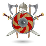 Viking's Weapon. Set Viking equipment: shield, sword, ax and helmet, executed in the form of the emblem Stock Photo