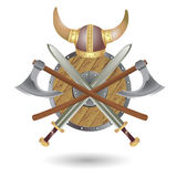 Viking's Weapon. Set Viking equipment: shield, sword, ax and helmet, executed in the form of the emblem Royalty Free Stock Image