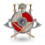 Viking's Weapon. Set Viking equipment: shield, sword, ax and helmet, executed in the form of the emblem. Vector illustration Stock Photos