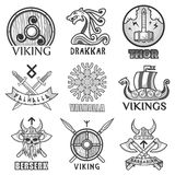 Viking scandinavian ancient warriors ship, arms shields and helmet symbols icons set Stock Image