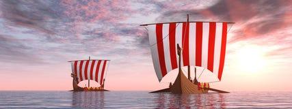 Viking-schepen bij zonsopgang Royalty-vrije Stock Foto's