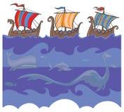 Viking-schepen en overzeese monsters. Royalty-vrije Stock Afbeeldingen