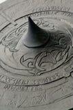 Viking Shield. Close shot of a viking shield engraved with ruins and designs stock photo