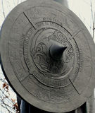 Viking Shield. Statue of a viking shield engraved with ruins and designs royalty free stock photo