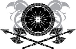 Viking shield with crossing axes Royalty Free Stock Photography