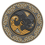 Viking shield, decorated with a Scandinavian pattern and Ravens of God Odin. Huginn and Muninn Royalty Free Stock Photo