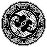 Viking shield, decorated with a Scandinavian pattern and Ravens of God Odin. Huginn and Muninn Royalty Free Stock Images