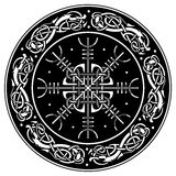 Viking Shield Decorated With A Scandinavian Pattern Of Dragons And Aegishjalmur, Helm Of Awe Helm Of Terror Icelandic Royalty Free Stock Photography