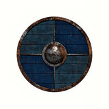 Viking shield. Illustration of an old rusty Viking shield on a white background vector illustration