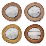 Viking Shields de pedra e de madeira arredondado cômico Fotografia de Stock Royalty Free
