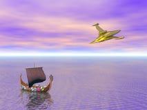 Free Viking Ship And Spaceship Stock Image - 11351451