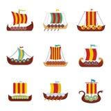 Viking ship boat drakkar icons set, flat style royalty free illustration