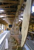 Viking ship copy. Viking ship reconstruction. Its a reproduction,as planks are sawed and not cut out with an axe royalty free stock images