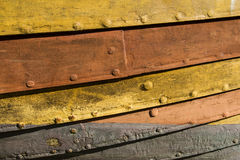Viking ship detail. Old yellow wood Stock Photography