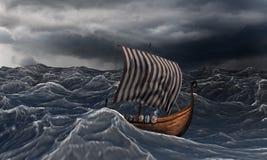 Viking ship on the dramatic wavy sea in the storm. Drakkar and ocean stock illustration