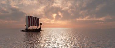 Viking ship at dusk. Computer generated 3D illustration with a Viking ship at dusk royalty free illustration