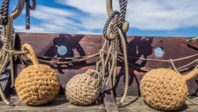 Viking ship fenders on the deck Stock Images