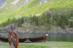 Viking. And ship in the fjord.Gudvangen royalty free stock photography