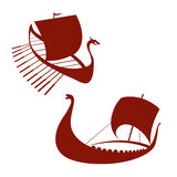 Viking ship icon. Longship.  on white. Royalty Free Stock Image