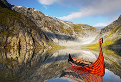 Viking Ship. Viking wooden ship on the coast. Norway stock photography