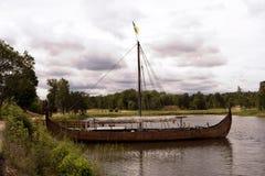 Viking ship on lake Vaenern Stock Image