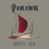 Viking Ship Mar del Norte ilustración del vector