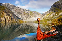Viking Boat. Viking wooden boat on the coast. Norway royalty free stock images